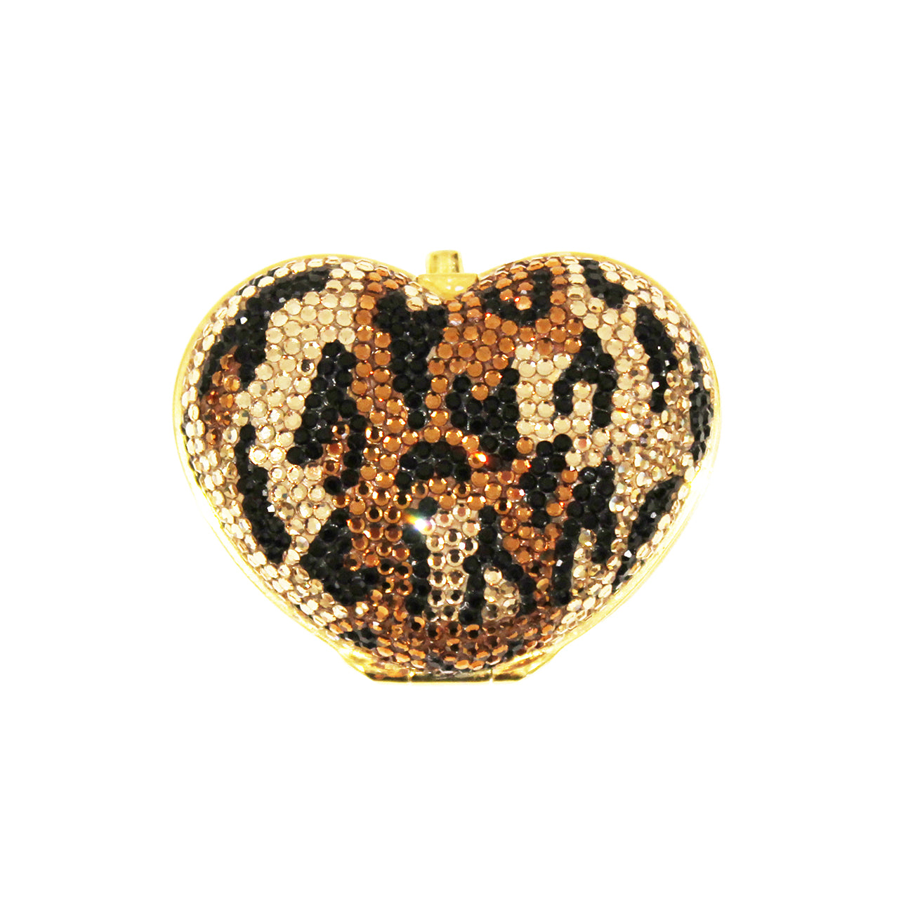 Leopard Crystal Heart Pill Box