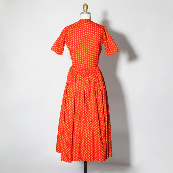 "Rare 1956 McCardell Red & Yellow Printed ""Popover"" Dress"