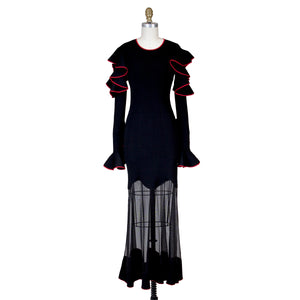 McQueen Crepe Knit Ruffle Gown
