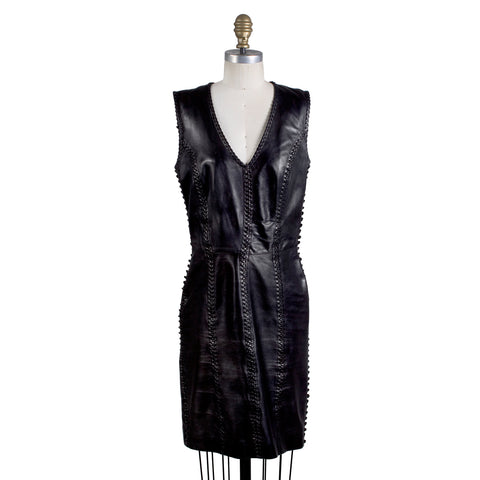 Whipstitched Leather Dress