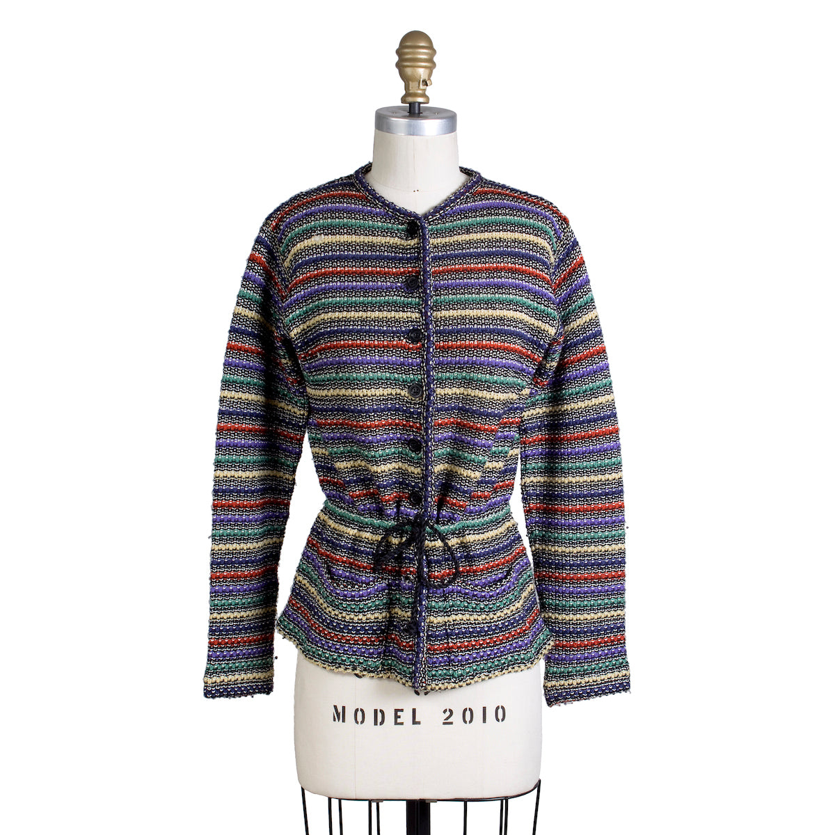 Striped Cardigan with Cinch Tie