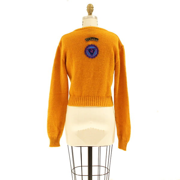 Cropped Sweater With Patches