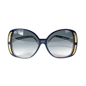 Oversized Round Sunglasses in Blue and Gold
