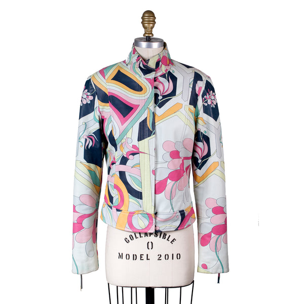 Multicolor Print Leather Moto Jacket