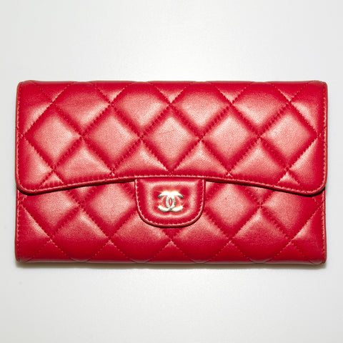 Cherry Red Quilted Leather Chanel Wallet