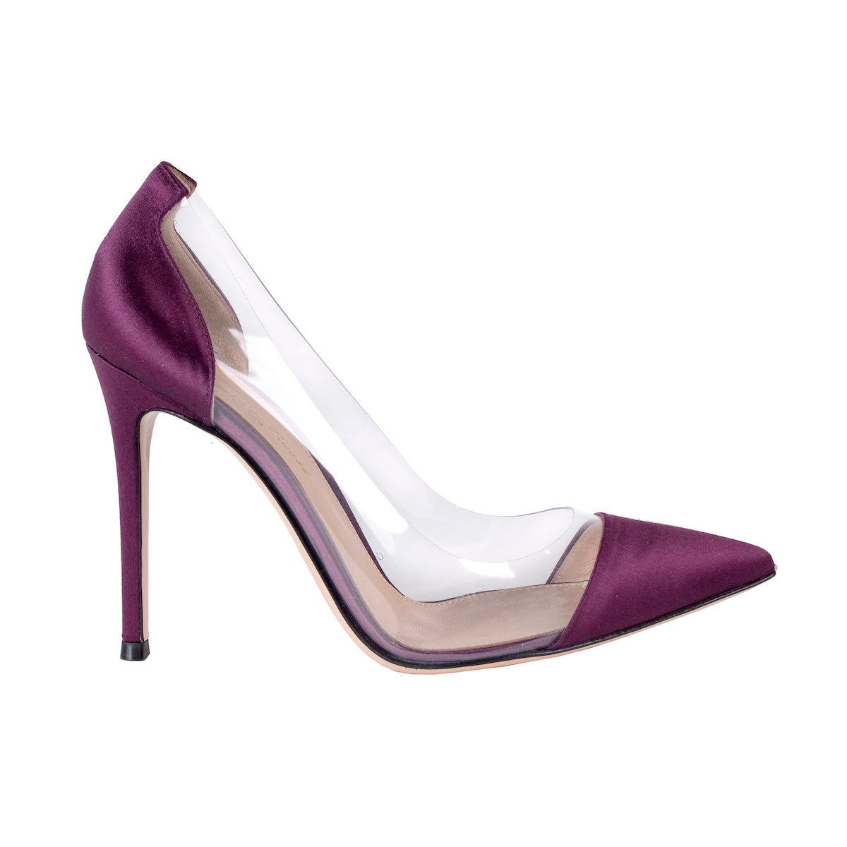 Clear Heels with Purple Satin Toe and Heel