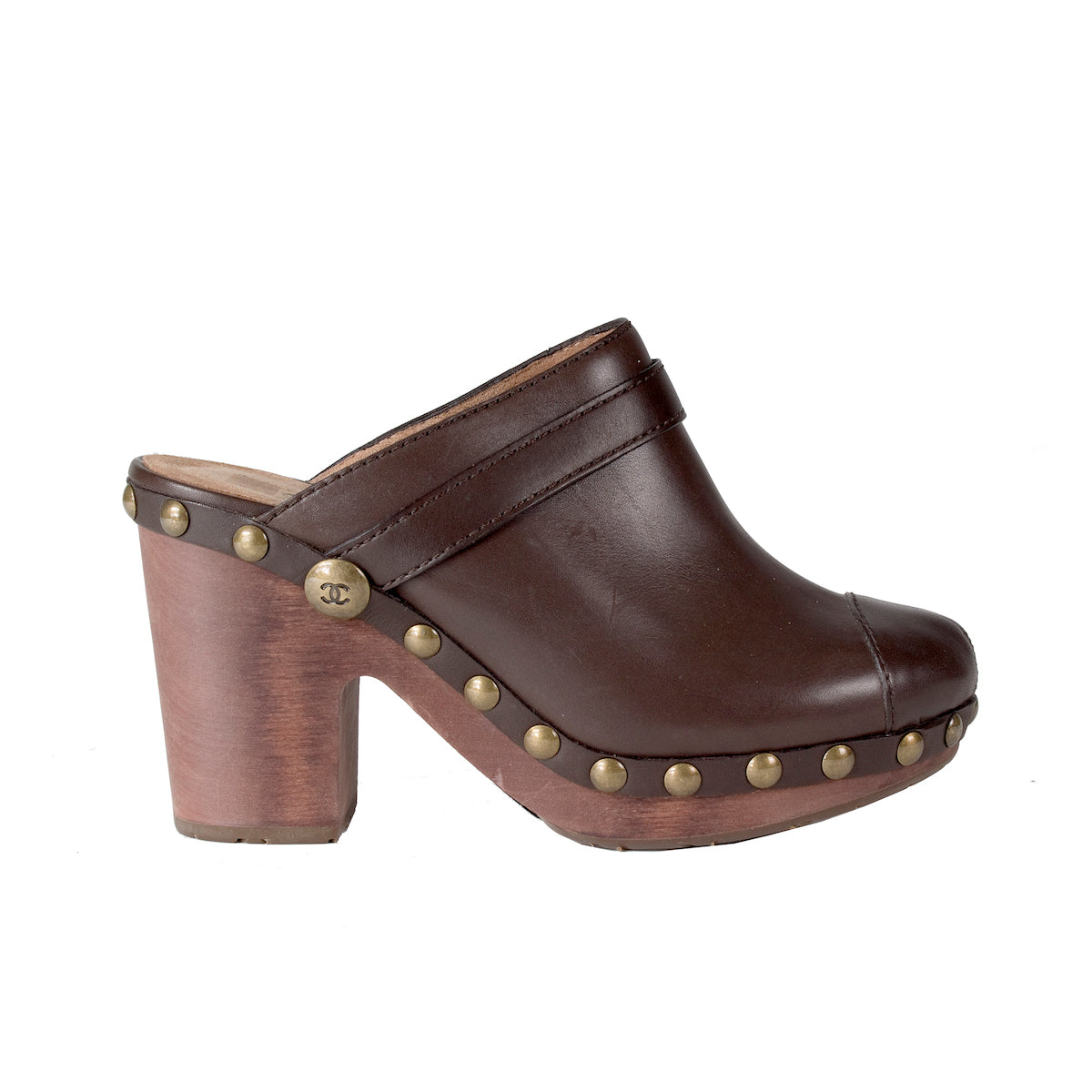 Dark Brown Leather and Wood Clogs