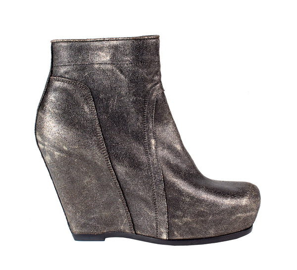 Metallic Leather Wedge Boots