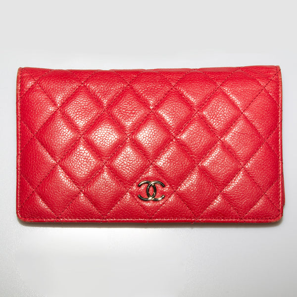 Tomato Red Quilted Leather Chanel Wallet