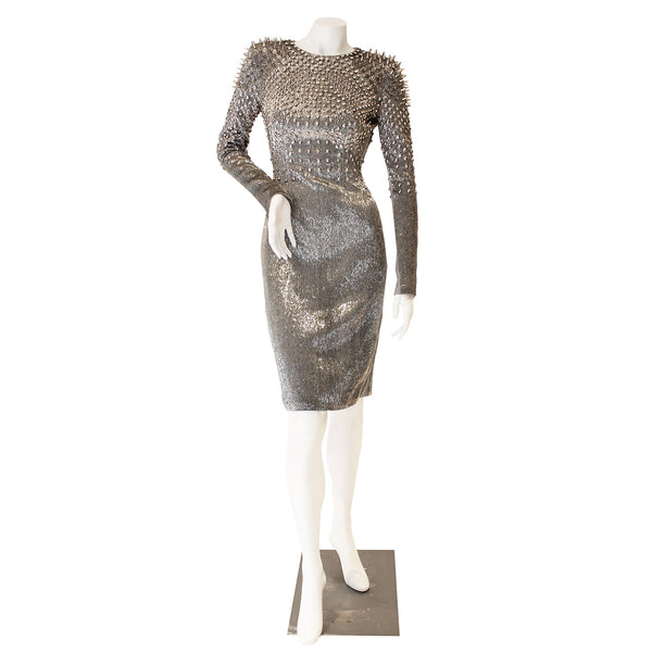 Tom Ford One-Of-A-Kind Silver Beaded Stud Dress