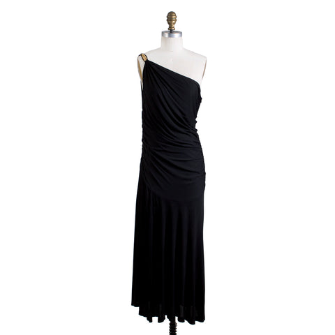 Black Jersey One Shoulder Dress