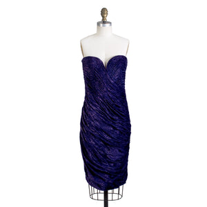 Strapless Metallic Purple Dress