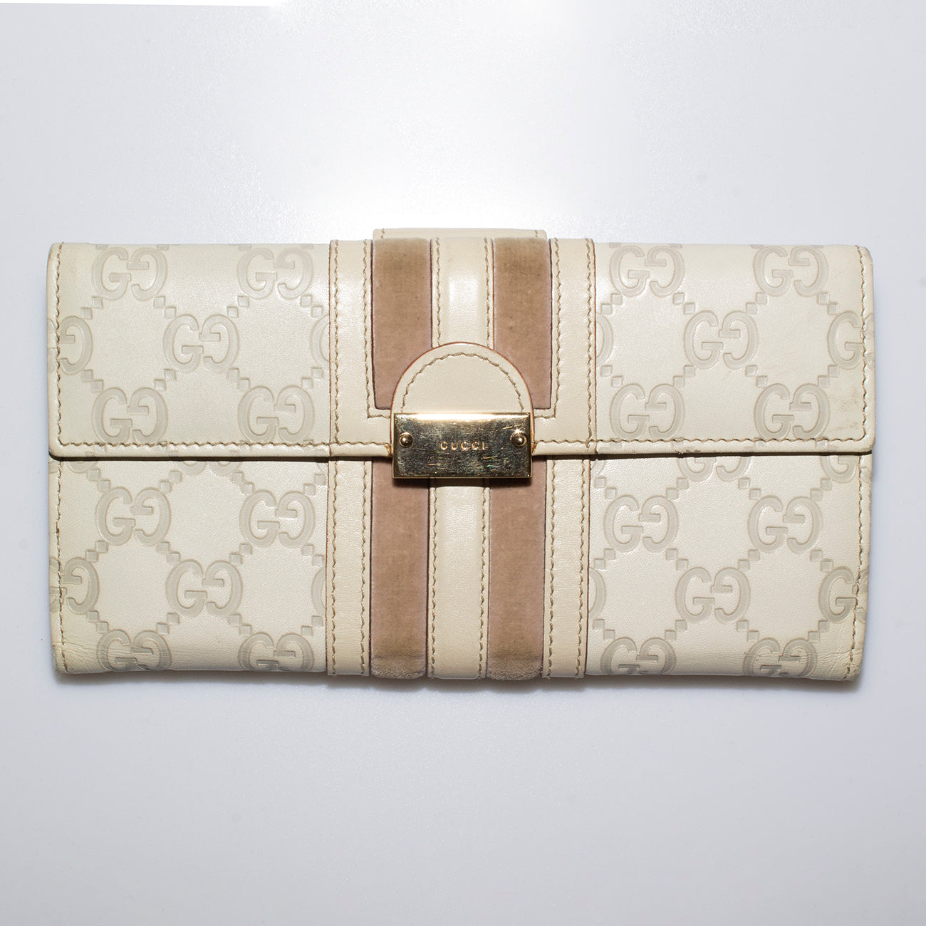 GG Monogram Leather Embossed Wallet