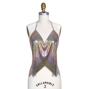Multicolor Chevron Metal Mesh Halter Top
