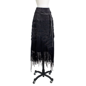 Suede Skirt with Woven Fringe, Fall 2001
