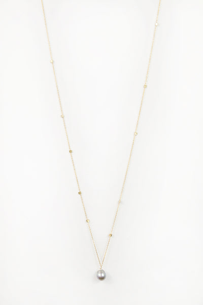 Long Crimp Pearl Necklace
