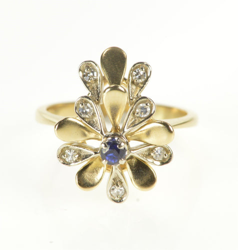 14K Floral Sapphire Diamond Petal Cocktail Ring Size 7 Yellow Gold