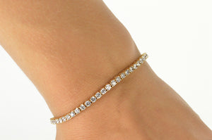 "14K Classic Cubic Zirconia Encrusted Tennis Bracelet 7"" Yellow Gold"