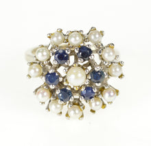 Load image into Gallery viewer, 14K Pearl Sapphire Cocktail Statement Cluster Ring Size 7.25 White Gold