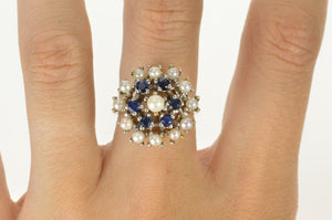 14K Pearl Sapphire Cocktail Statement Cluster Ring Size 7.25 White Gold