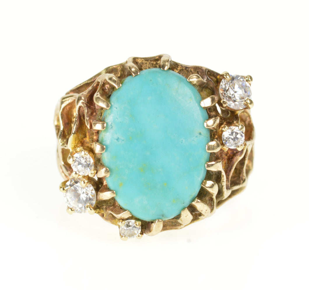 14K Turquoise CZ Textured Nugget Web Statement Ring Size 7.75 Yellow Gold