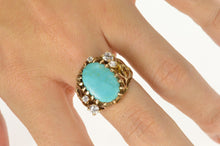 Load image into Gallery viewer, 14K Turquoise CZ Textured Nugget Web Statement Ring Size 7.75 Yellow Gold