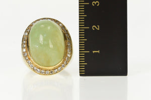 14K Oval Fluorite Diamond Halo Statement Cocktail Ring Size 6 Yellow Gold