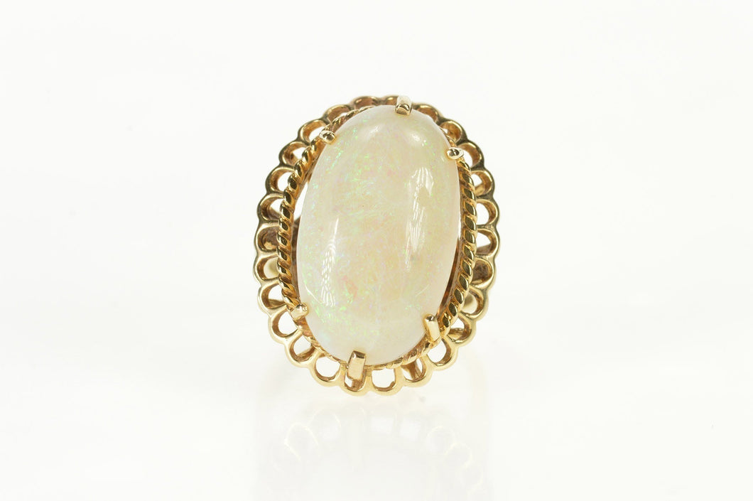 10K Victorian Natural Opal Huge Statement Cocktail Ring Size 7.5 Yellow Gold