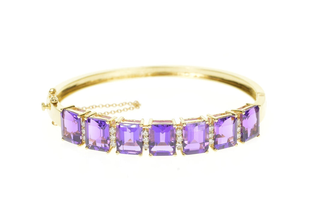 14K Emerald Cut Amethyst Diamond Inset Bangle Bracelet 7.25