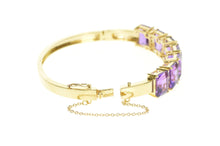 "Load image into Gallery viewer, 14K Emerald Cut Amethyst Diamond Inset Bangle Bracelet 7.25"" Yellow Gold"