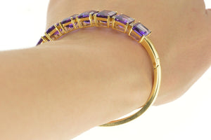 "14K Emerald Cut Amethyst Diamond Inset Bangle Bracelet 7.25"" Yellow Gold"