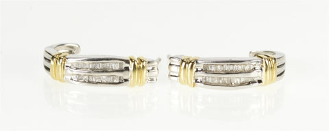 10K 0.36 Ctw Baguette Diamond Two Tone Semi Hoop Earrings White Gold