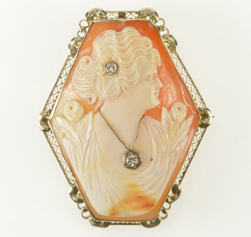 14K Victorian Diamond Inset Carved Lady Cameo Pendant/Pin Yellow Gold