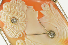 Load image into Gallery viewer, 14K Victorian Diamond Inset Carved Lady Cameo Pendant/Pin Yellow Gold