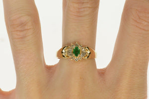 14K Oval Emerald Diamond Halo Engagement Ring Size 8.75 Yellow Gold