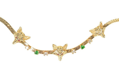14K Ornate Emerald Diamond Wolf Head Herringbone Necklace 18