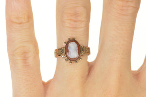 10K Victorian Carved Shell Cameo Ornate Statement Ring Size 6 Yellow Gold