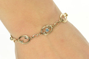 "10K Blue Topaz Wave Oval Design Statement Chain Bracelet 7.25"" Yellow Gold"