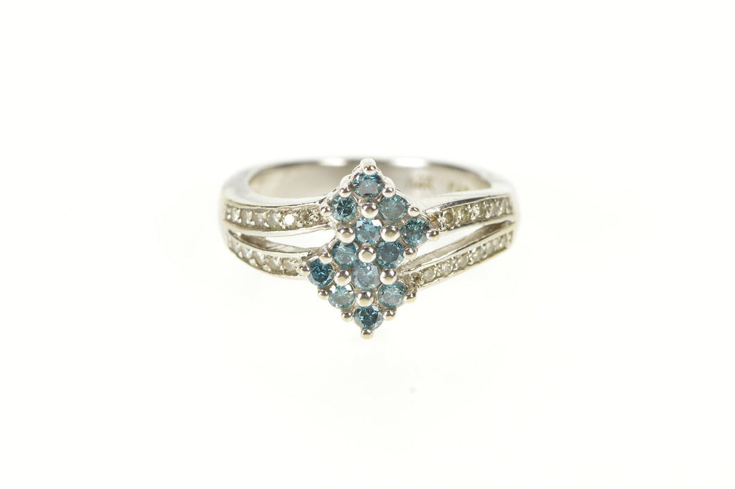 14K 0.46 Ctw Squared Blue Diamond Cluster Bypass Ring Size 5.75 White Gold