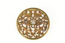Load image into Gallery viewer, 14K 1940's Diamond Inset Ornate Scrollwork Round Pin/Brooch Yellow Gold