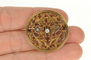 14K 1940's Diamond Inset Ornate Scrollwork Round Pin/Brooch Yellow Gold