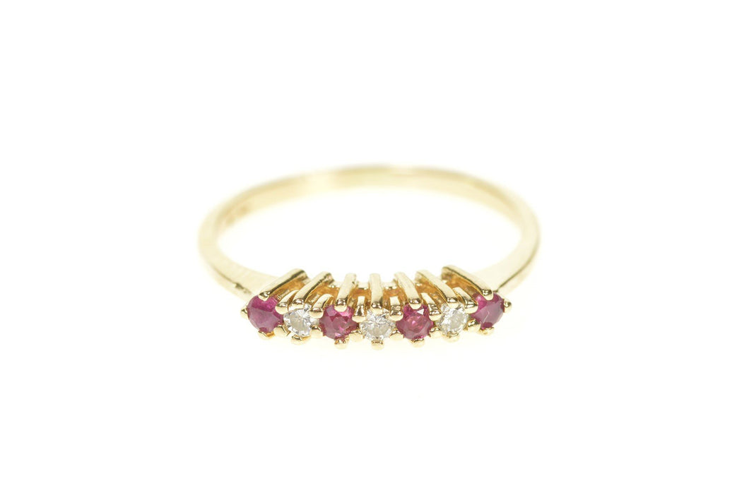 14K Retro Classic Diamond Ruby Wedding Band Ring Size 5.75 Yellow Gold