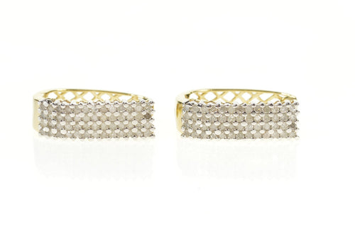 10K 0.81 Ctw Squared Diamond Encrusted Oval Hoop Earrings Yellow Gold