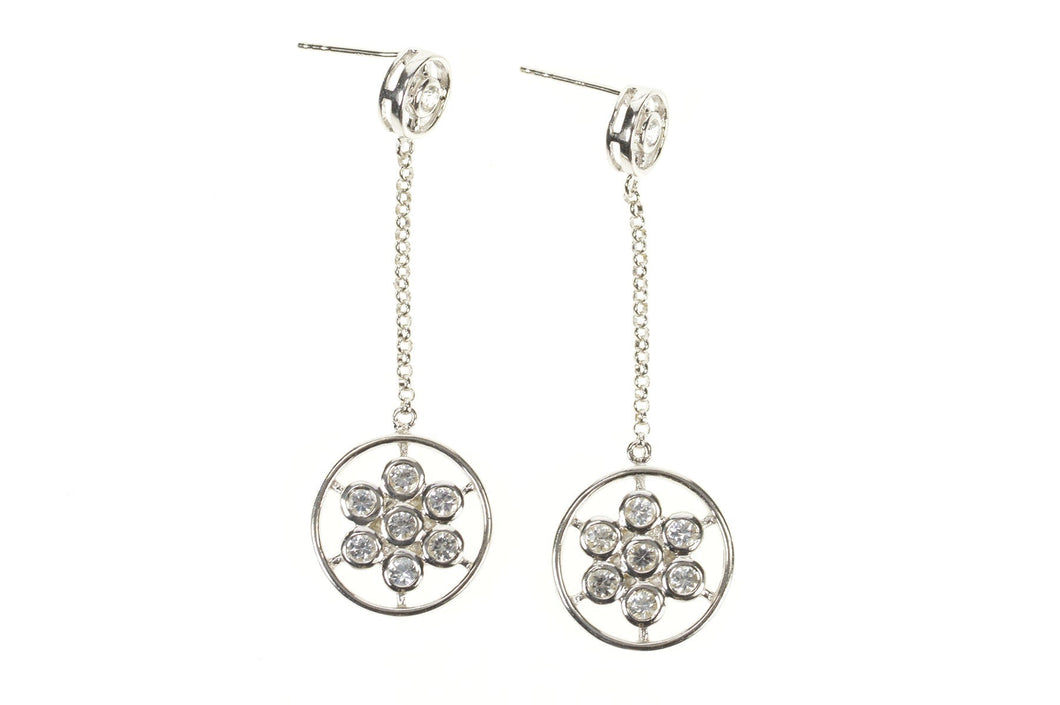 14K Round Floral Cluster Dangle Chain CZ Earrings White Gold