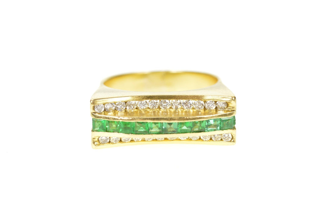 18K 0.81 Ctw Emerald Diamond Squared Statement Ring Size 7 Yellow Gold