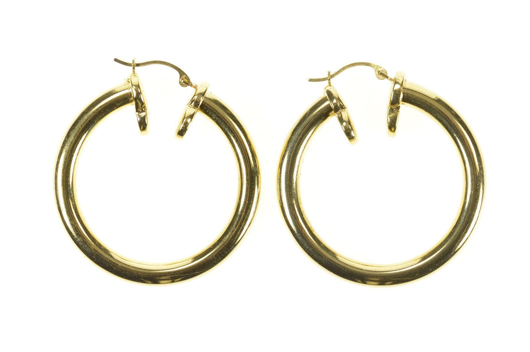 14K 26.0mm Round Statement Classic Hollow Hoop Earrings Yellow Gold