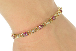"14K Ruby Flower Cluster Diamond Bar Link Tennis Bracelet 7"" Yellow Gold"