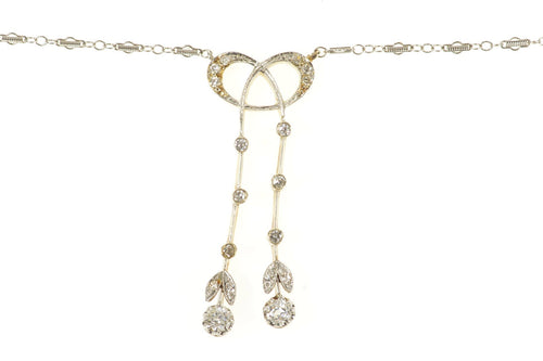 14K 0.74 Ctw Edwardian Diamond Bow Drop Chain Necklace 15
