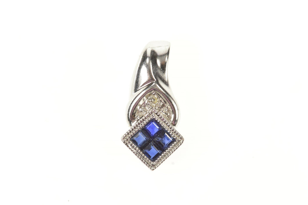 10K Princess Sapphire Cluster Diamond Accent Pendant White Gold
