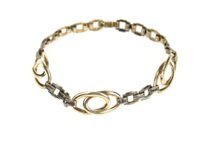Gold Filled Retro Oval Squared Link Statement Chain Bracelet 6.25""